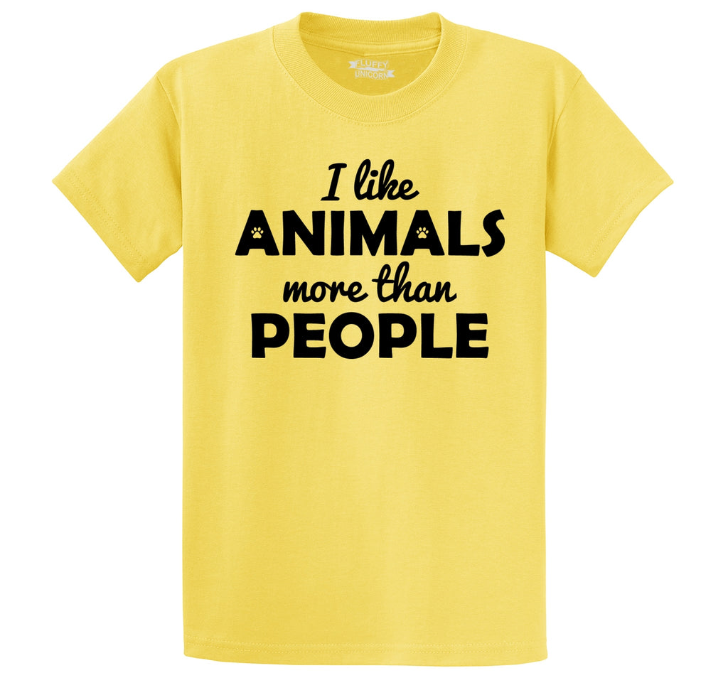 I Like Animals More Than People Men's Heavyweight Big & Tall Cotton Tee Shirt