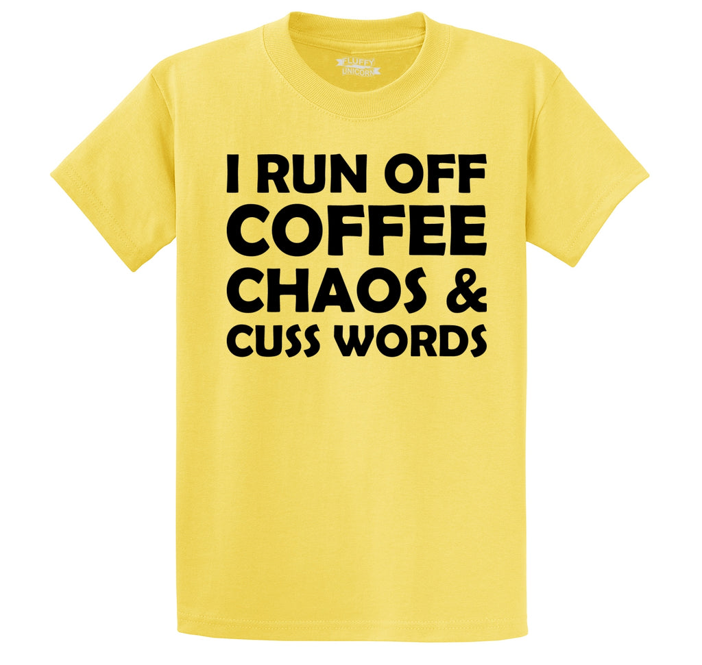 Coffee Chaos and Cuss Words Funny Party Tee Men's Heavyweight Cotton Tee Shirt