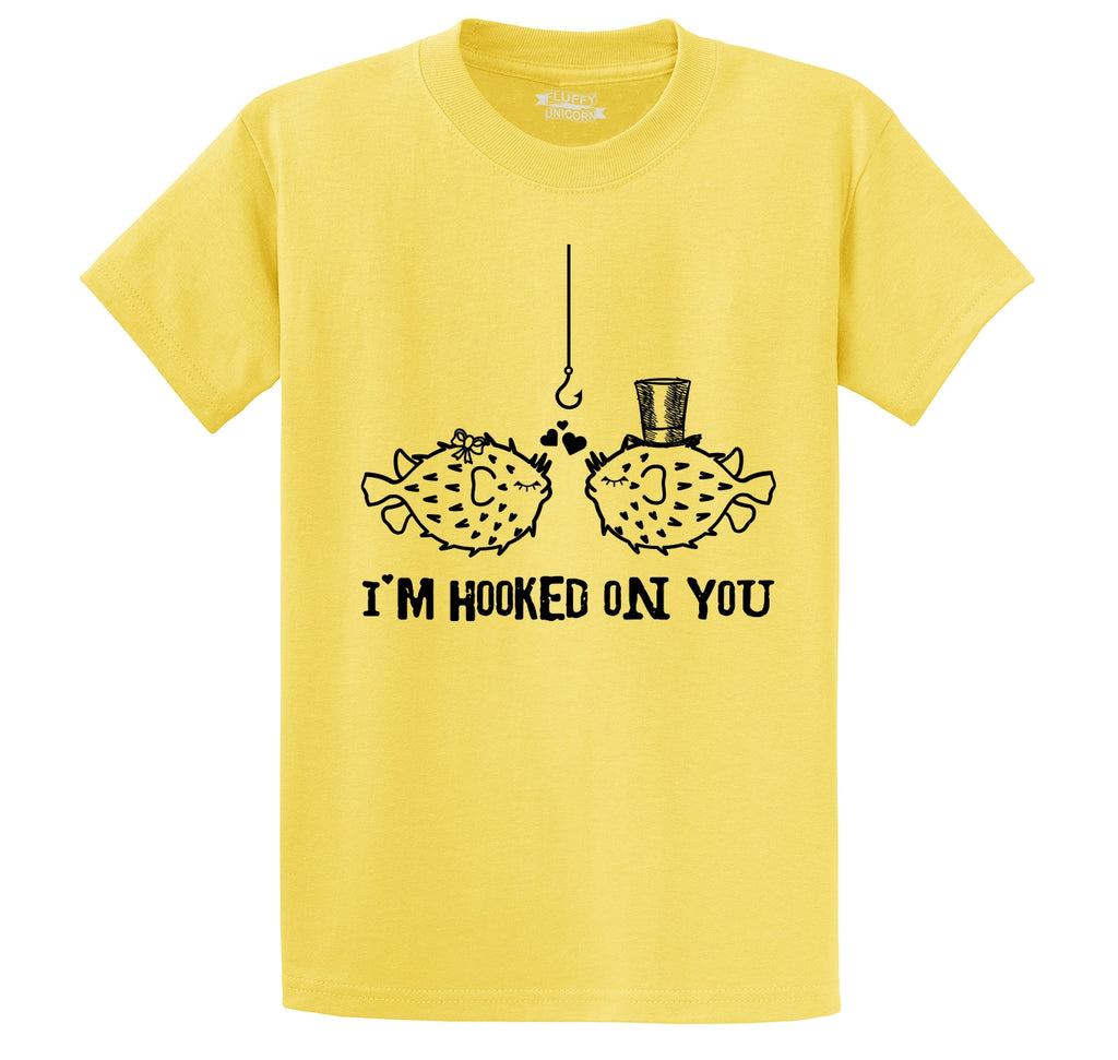 I'm Hooked On You Funny Tee Fish Valentines Day Gift Tee Men's Heavyweight Big & Tall Cotton Tee Shirt