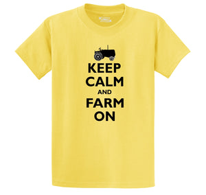 Keep Calm and Farm On Men's Heavyweight Big & Tall Cotton Tee Shirt