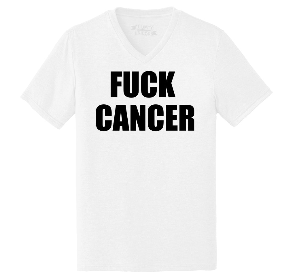Fuck Cancer Mens Tri-Blend V-Neck Tee Shirt