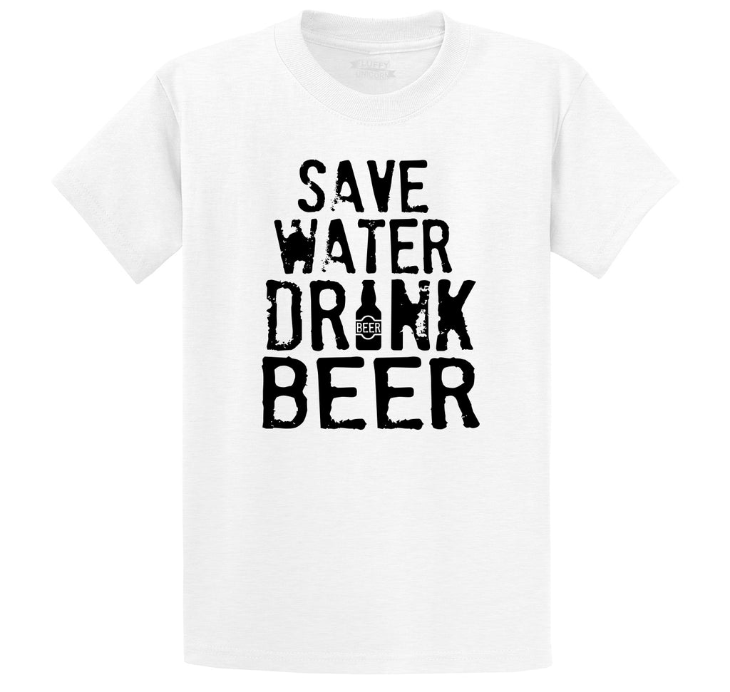 Save Water Drink Beer Men's Heavyweight Big & Tall Cotton Tee Shirt