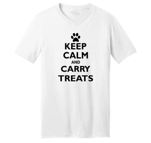 Keep Calm and Carry Treats Mens Short Sleeve Ringspun V Neck