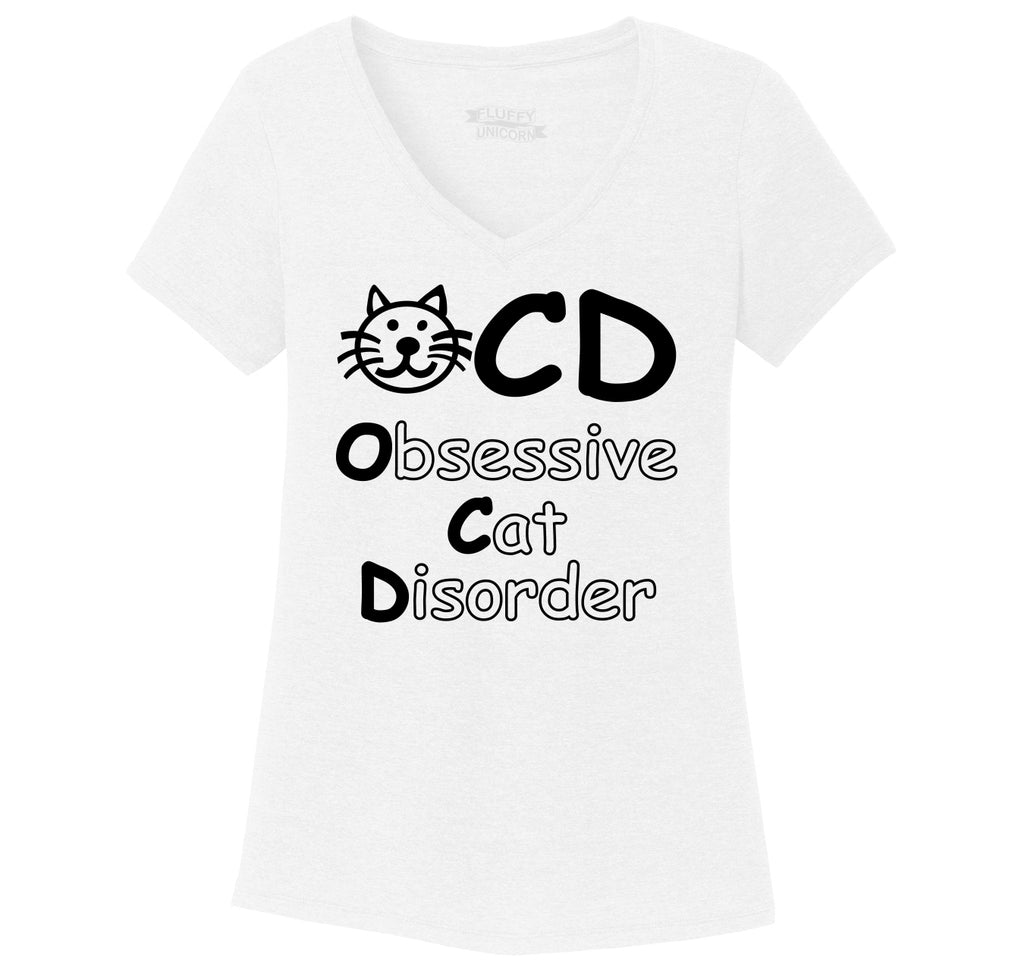 OCD Obsessive Cat Disorder Ladies Tri-Blend V-Neck Tee Shirt