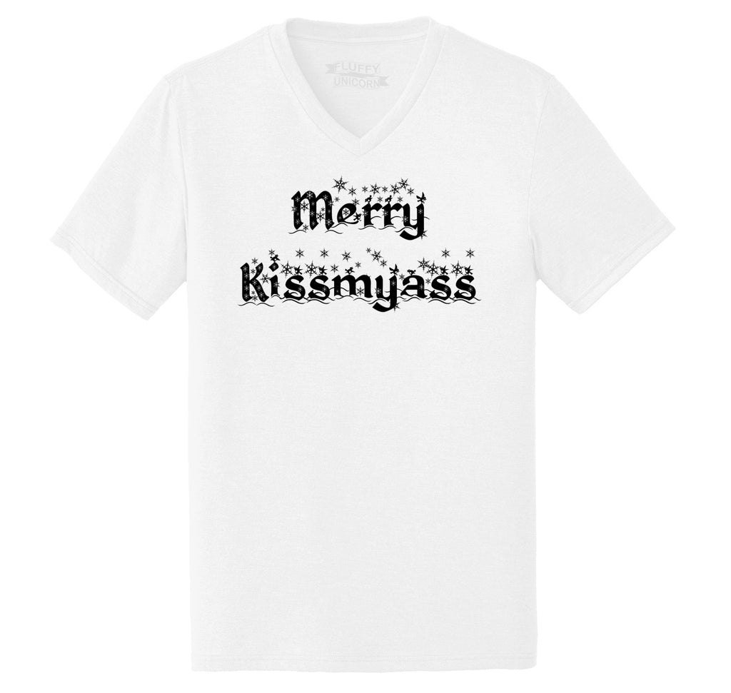 Merry Kiss My Ass Mens Tri-Blend V-Neck Tee Shirt