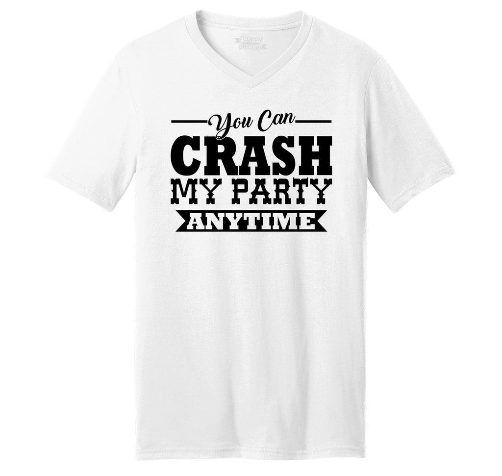 fdee517ce53a88 Crash My Party Anytime Shirt Country Song Concert Music Tee Mens Short  Sleeve Ringspun V Neck