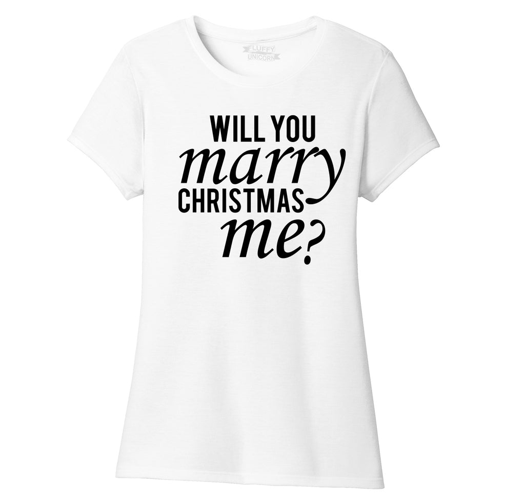 Will You Marry Christmas Me Ladies Short Sleeve Tri-Blend Shirt