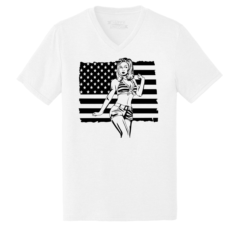 Pinup Girl American Flag Mens Tri-Blend V-Neck Tee Shirt