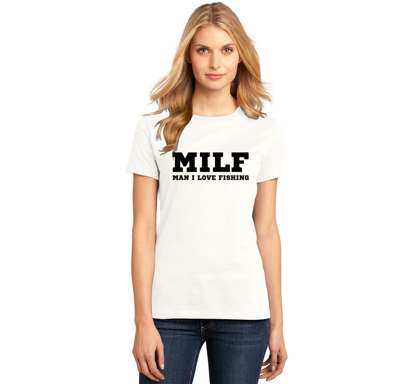 MILF Man I Love Fishing Ladies Ringspun Short Sleeve Tee