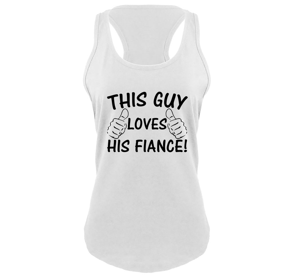 This Guy Loves His Fiance Ladies Gathered Racerback Tank Top