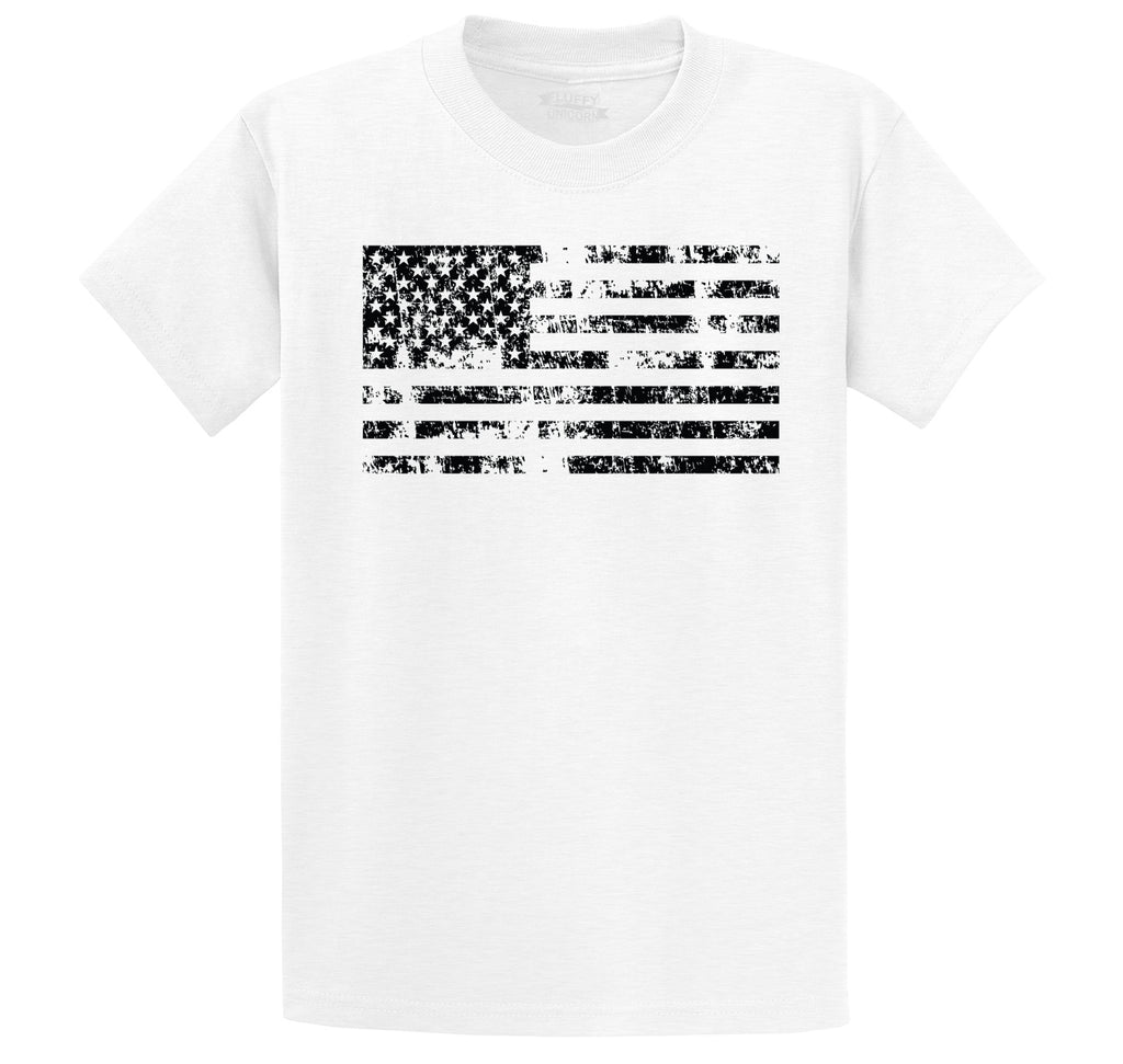 Distressed American Flag Patriotic July 4th Shirt Men's Heavyweight Big & Tall Cotton Tee Shirt