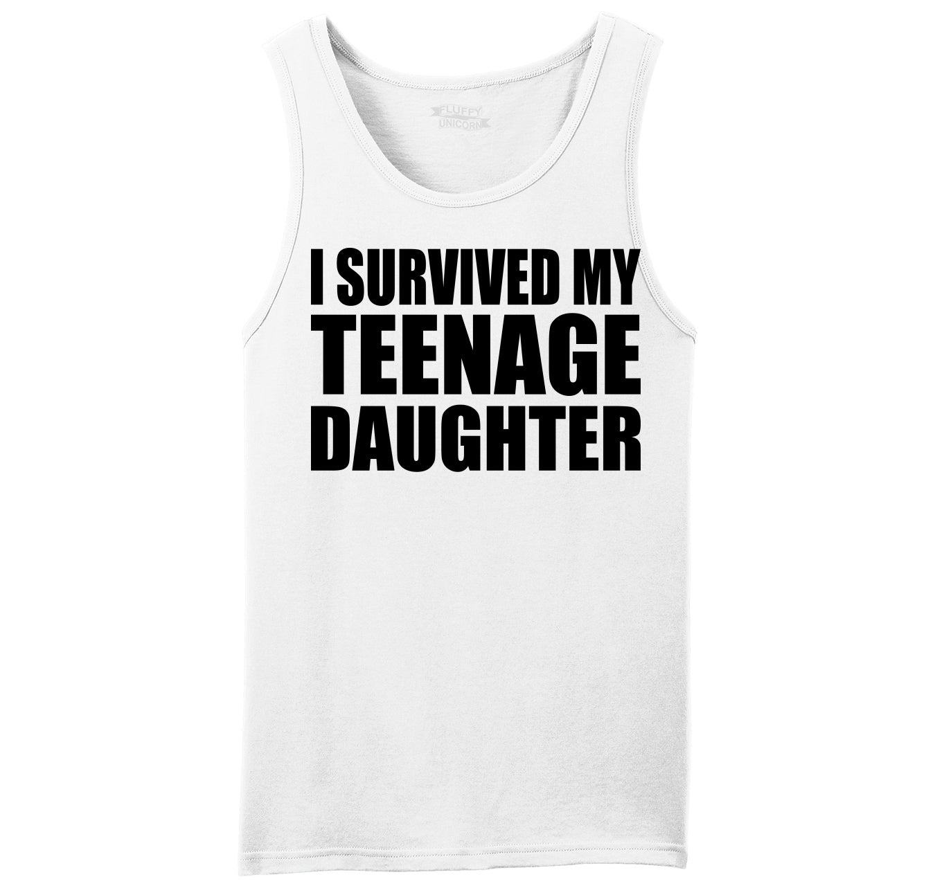 631c90d0ebbef5 I Survived My Teenage Daughter Cute Mom   Dad Gift Funny Shirt Mens  Sleeveless Tank Top