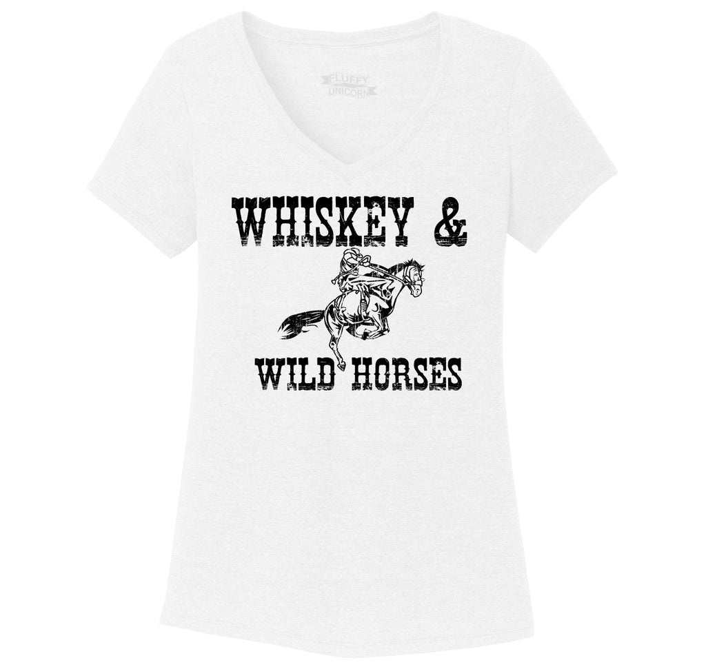 Whiskey and Wild Horses Ladies Tri-Blend V-Neck Tee Shirt
