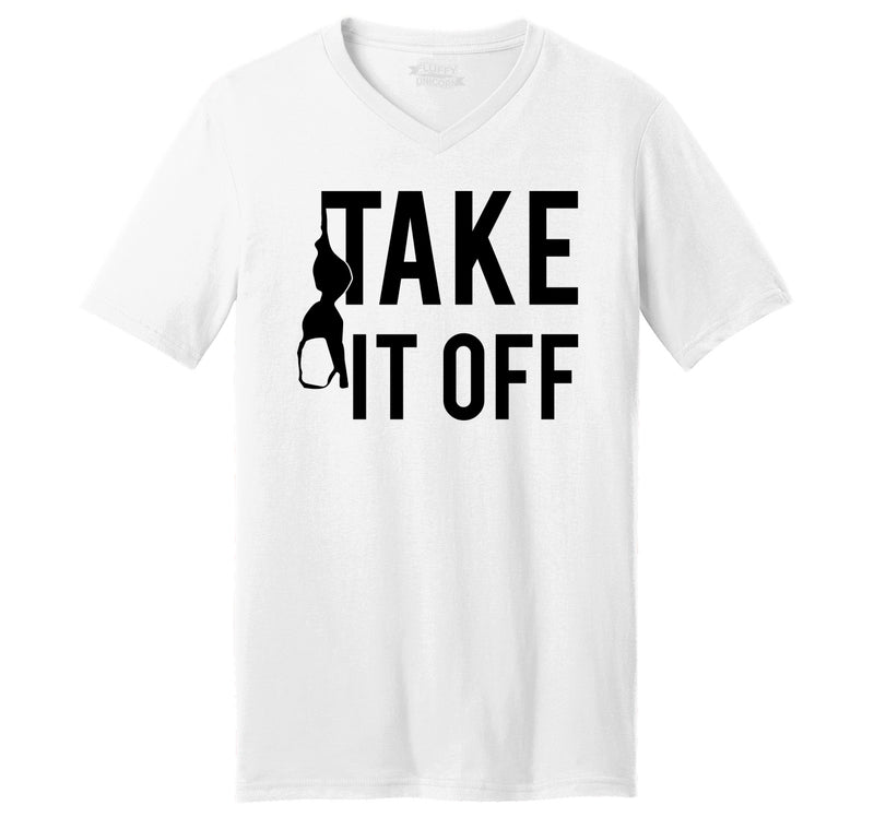 Take It Off Funny Sexual Pool Party Shirt Mens Short Sleeve Ringspun V Neck