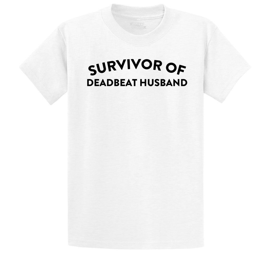 Survivor Of Deadbeat Husband Men's Heavyweight Big & Tall Cotton Tee Shirt