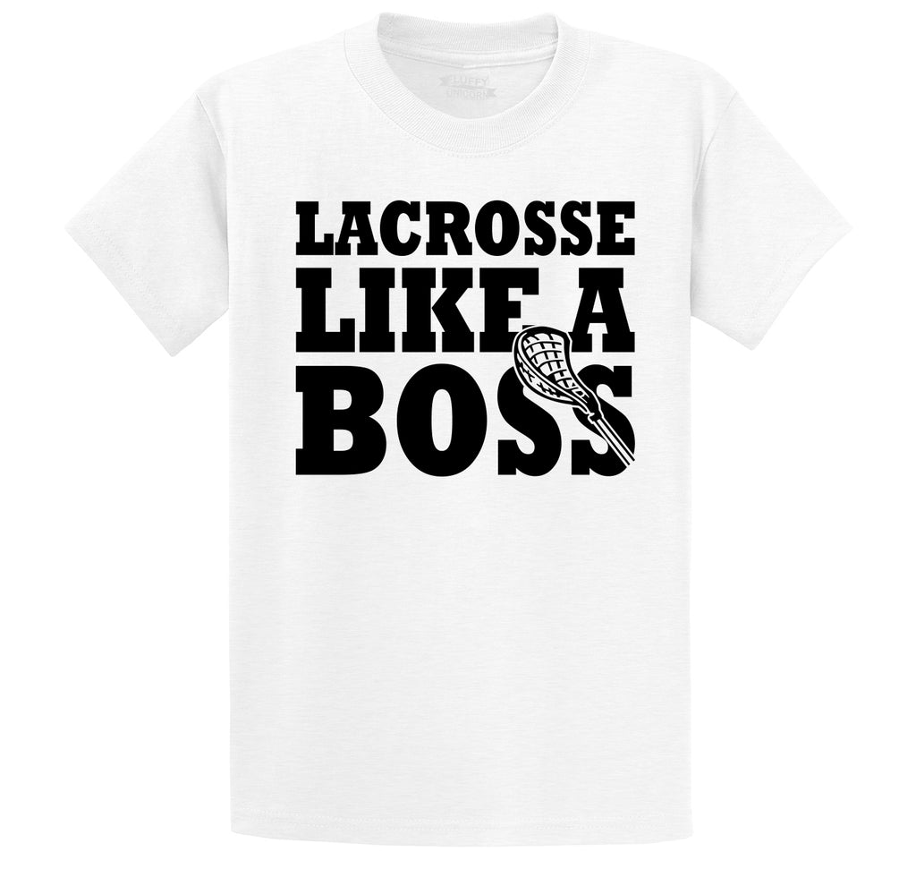 Lacrosse Like A Boss Men's Heavyweight Big & Tall Cotton Tee Shirt