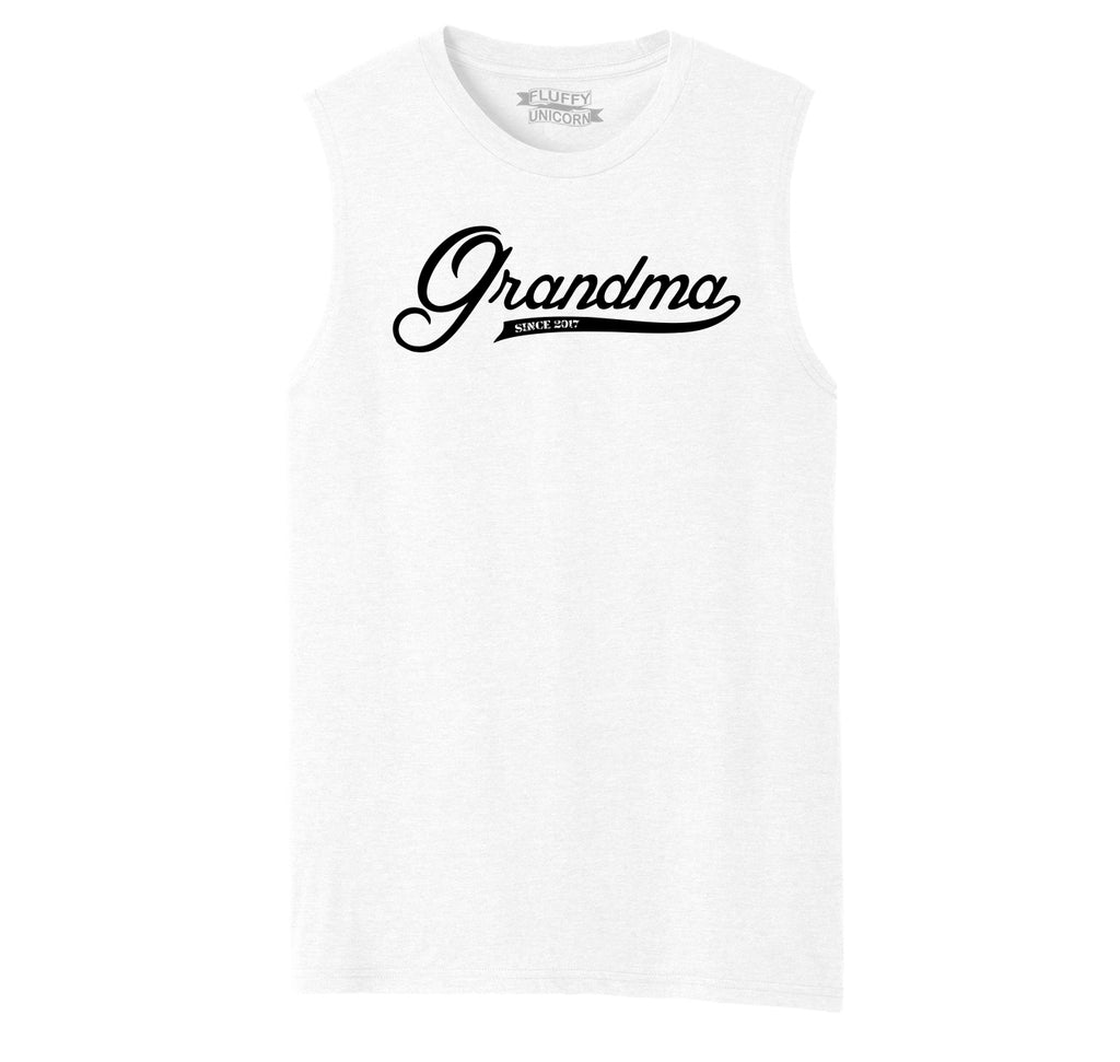 Grandma Since 2017 Shirt Cute New Baby Gift For Grandmother Mens Muscle Tank Muscle Tee