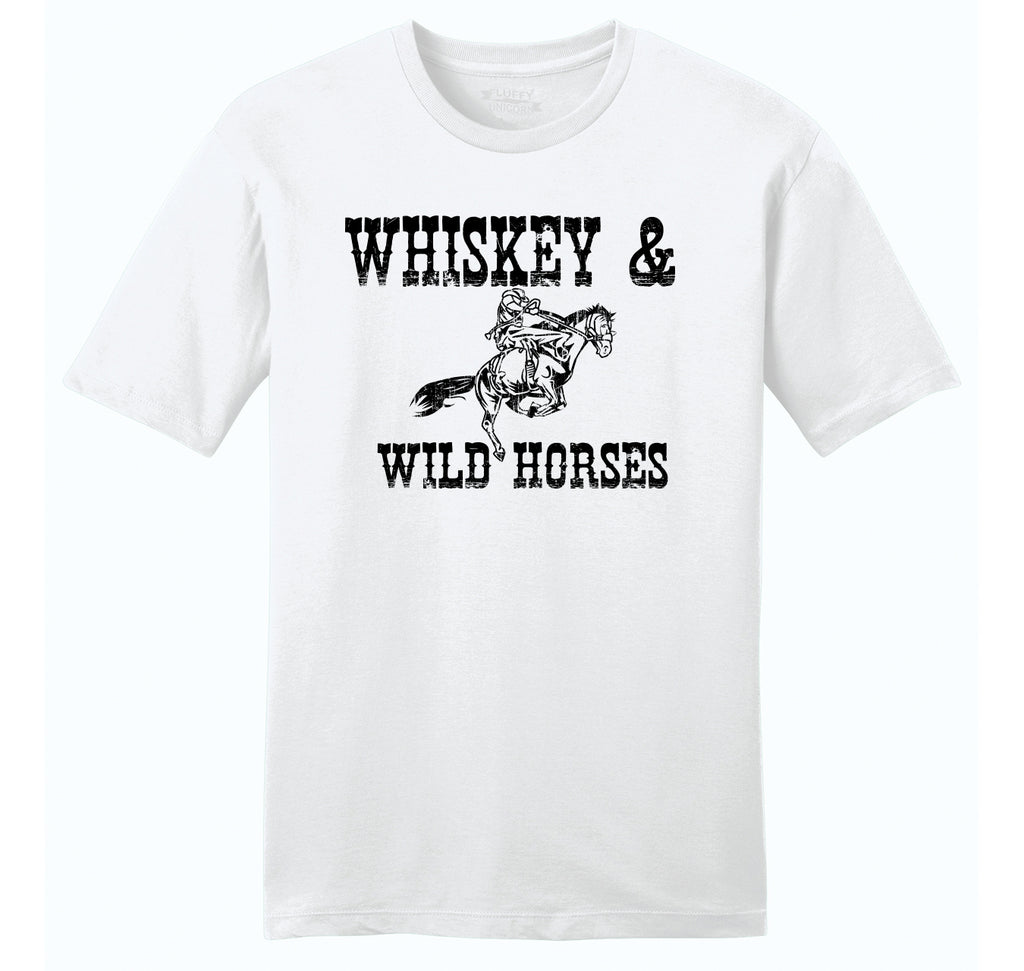 Whiskey and Wild Horses Mens Ringspun Cotton Tee Shirt