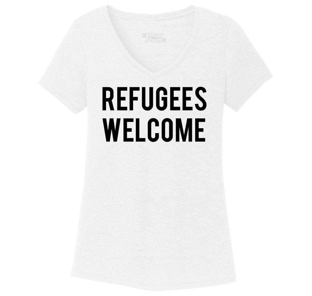 Refugees Welcome Tee Anti Trump Protest Muslim Peace USA Tee Ladies Tri-Blend V-Neck Tee Shirt