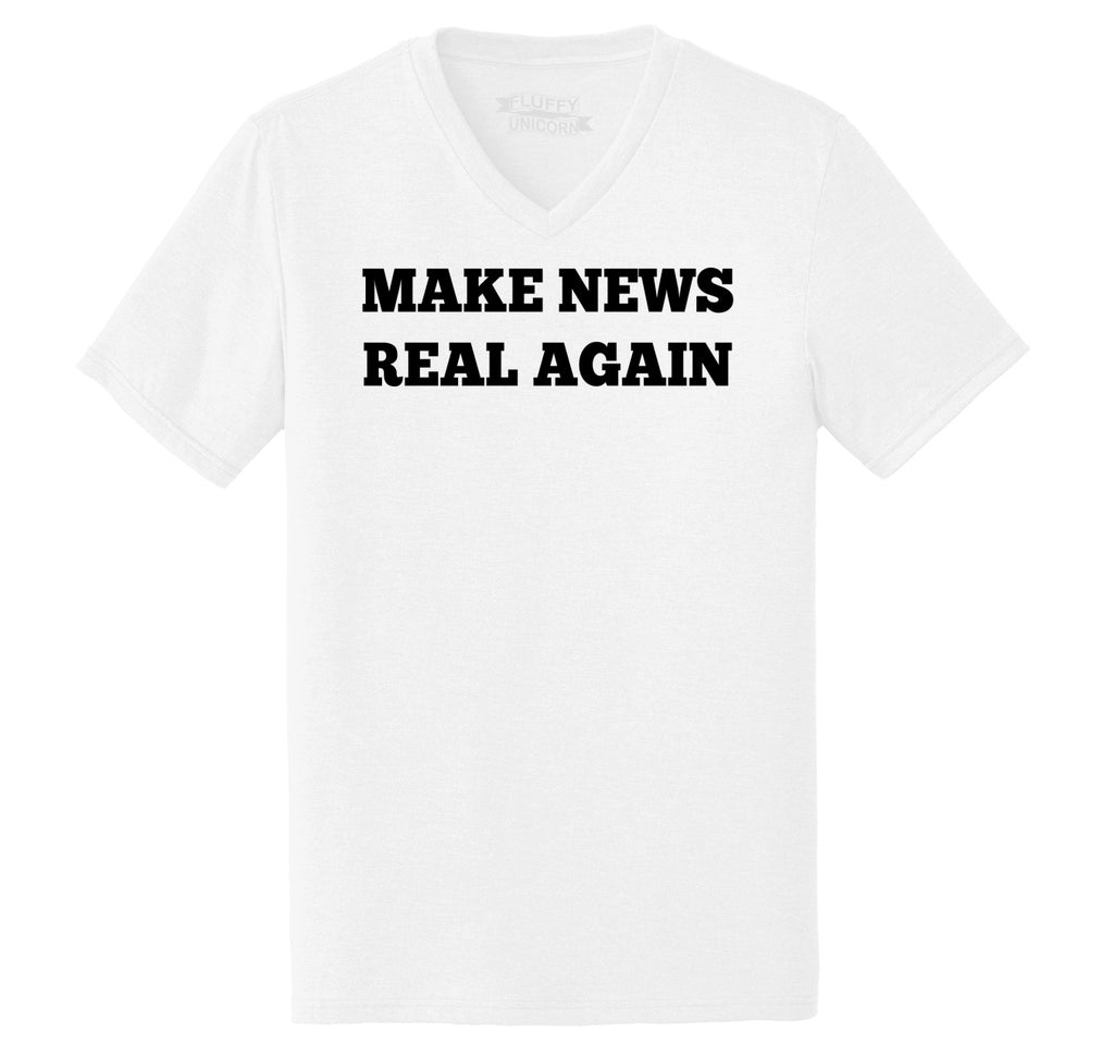 Make News Real Again Funny Trump Political Tee Mens Tri-Blend V-Neck Tee Shirt