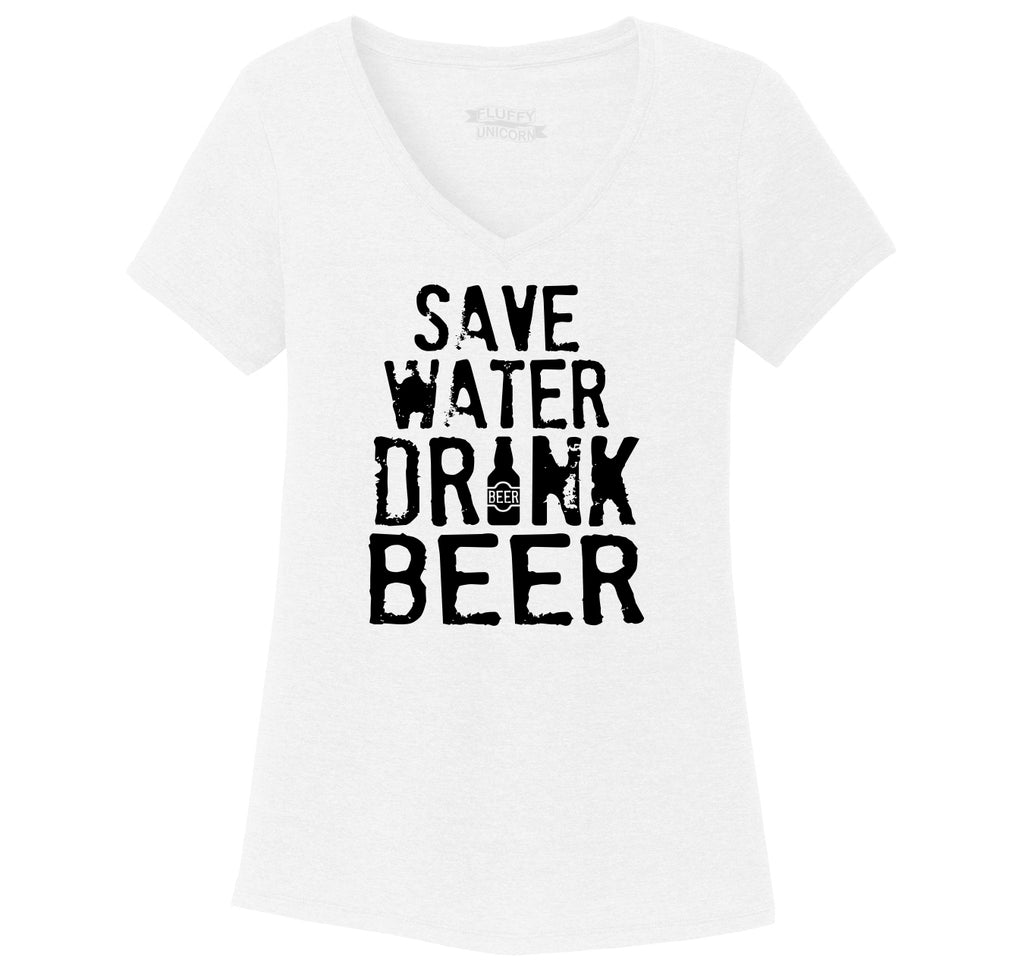 Save Water Drink Beer Ladies Tri-Blend V-Neck Tee Shirt