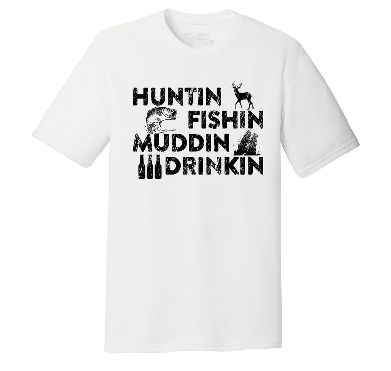 Huntin Fishin Muddin Drinkin Country Redneck Tee Shirt Mens Short Sleeve Tri-Blend Shirt