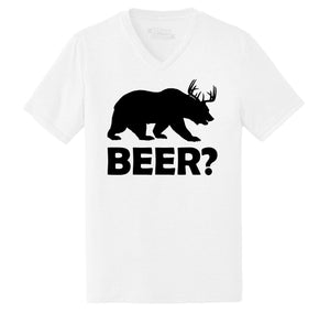 Bear Deer Beer Mens Tri-Blend V-Neck Tee Shirt