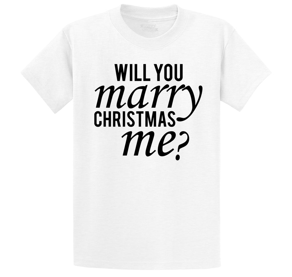 Will You Marry Christmas Me Men's Heavyweight Big & Tall Cotton Tee Shirt