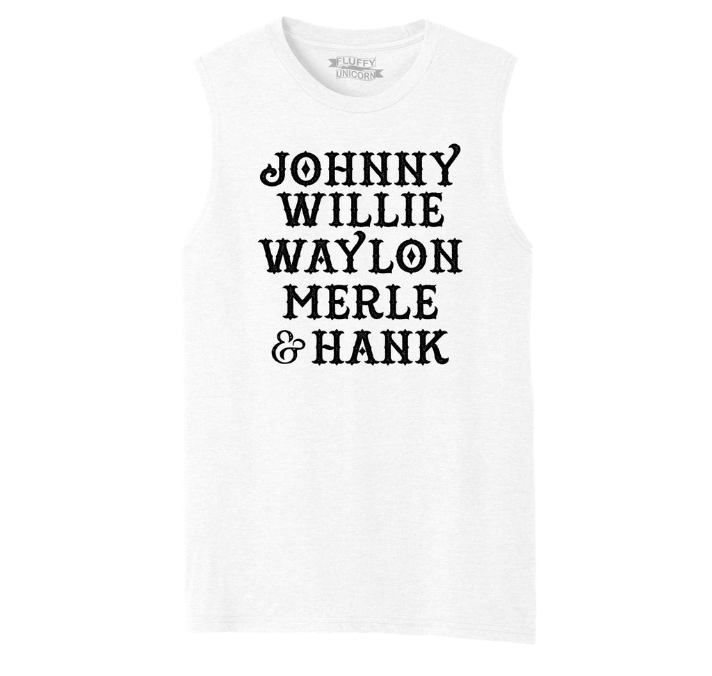 Johnny Willie Waylon Merle & Hank Mens Muscle Tank Muscle Tee