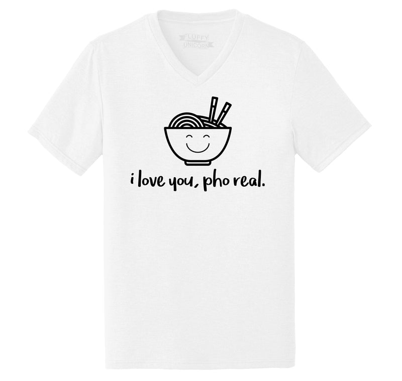 I Love You Pho Real Funny Asian Chinese Food Graphic Tee Mens Tri-Blend V-Neck Tee Shirt