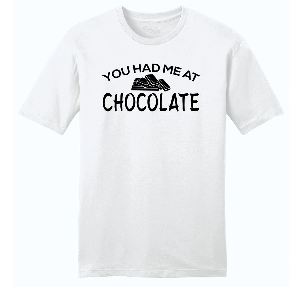 You Had Me At Chocolate Funny Tee Valentines Day Gift Tee Mens Ringspun Cotton Tee Shirt