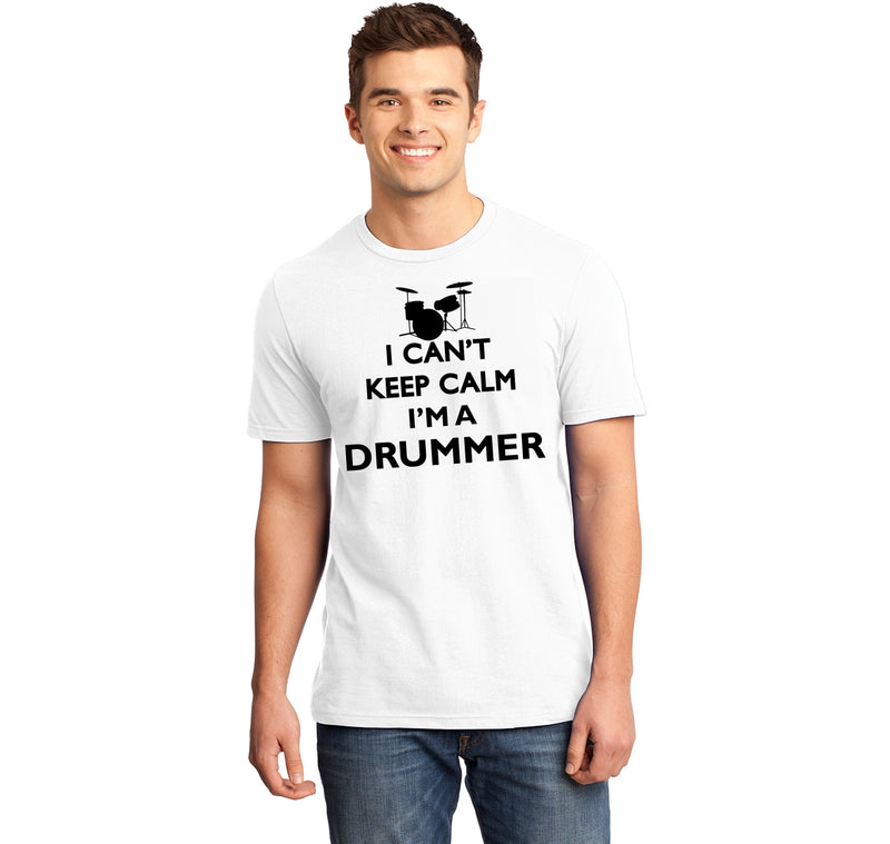 Are you a drummer? Do you know a drummer? You should understand the difficulties with keeping calm! Mens Ringspun Cotton Tee Shirt