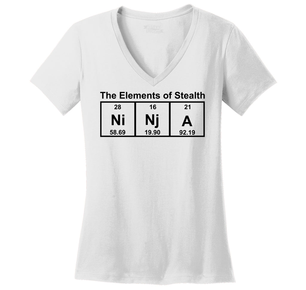 Ninja The Elements Of Stealth Ladies Ringspun V-Neck Tee