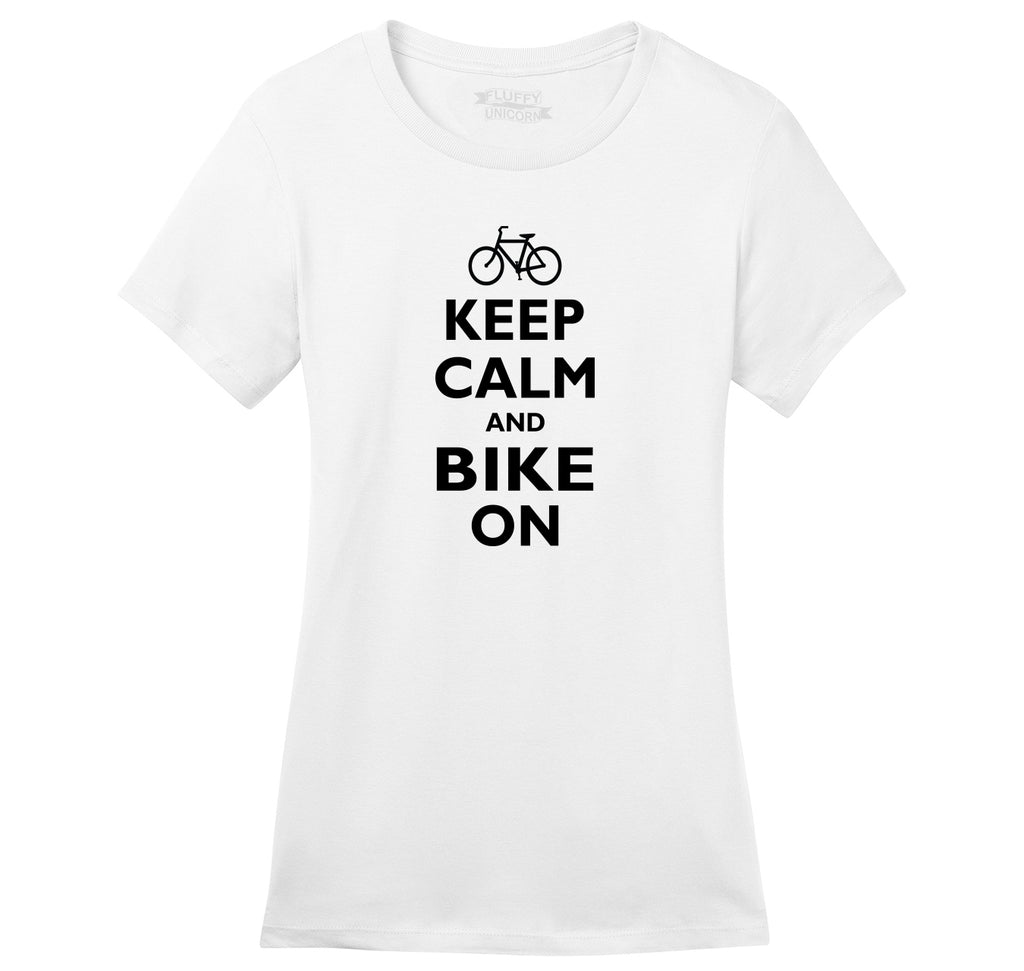 Keep Calm & Bike On Funny BicycleT Shirt Ladies Ringspun Short Sleeve Tee