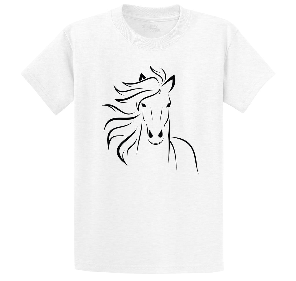 Horse Outline Graphic Tee Men's Heavyweight Big & Tall Cotton Tee Shirt