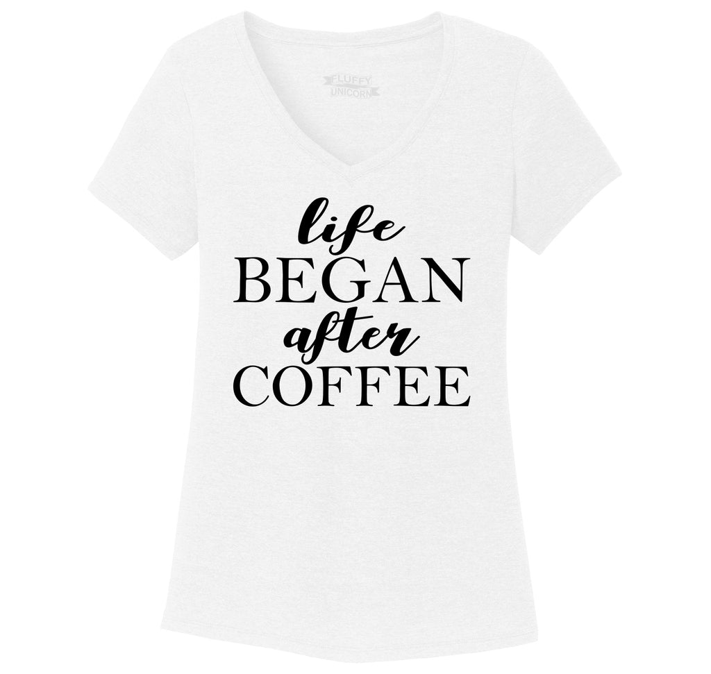 Life Began After Coffee Ladies Tri-Blend V-Neck Tee Shirt