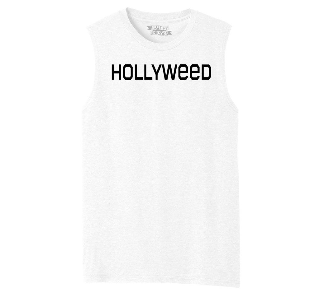 Hollyweed Funny Tee CA LA Hollywood Sign News Weed Stoner Cali Gift Tee Mens Muscle Tank Muscle Tee