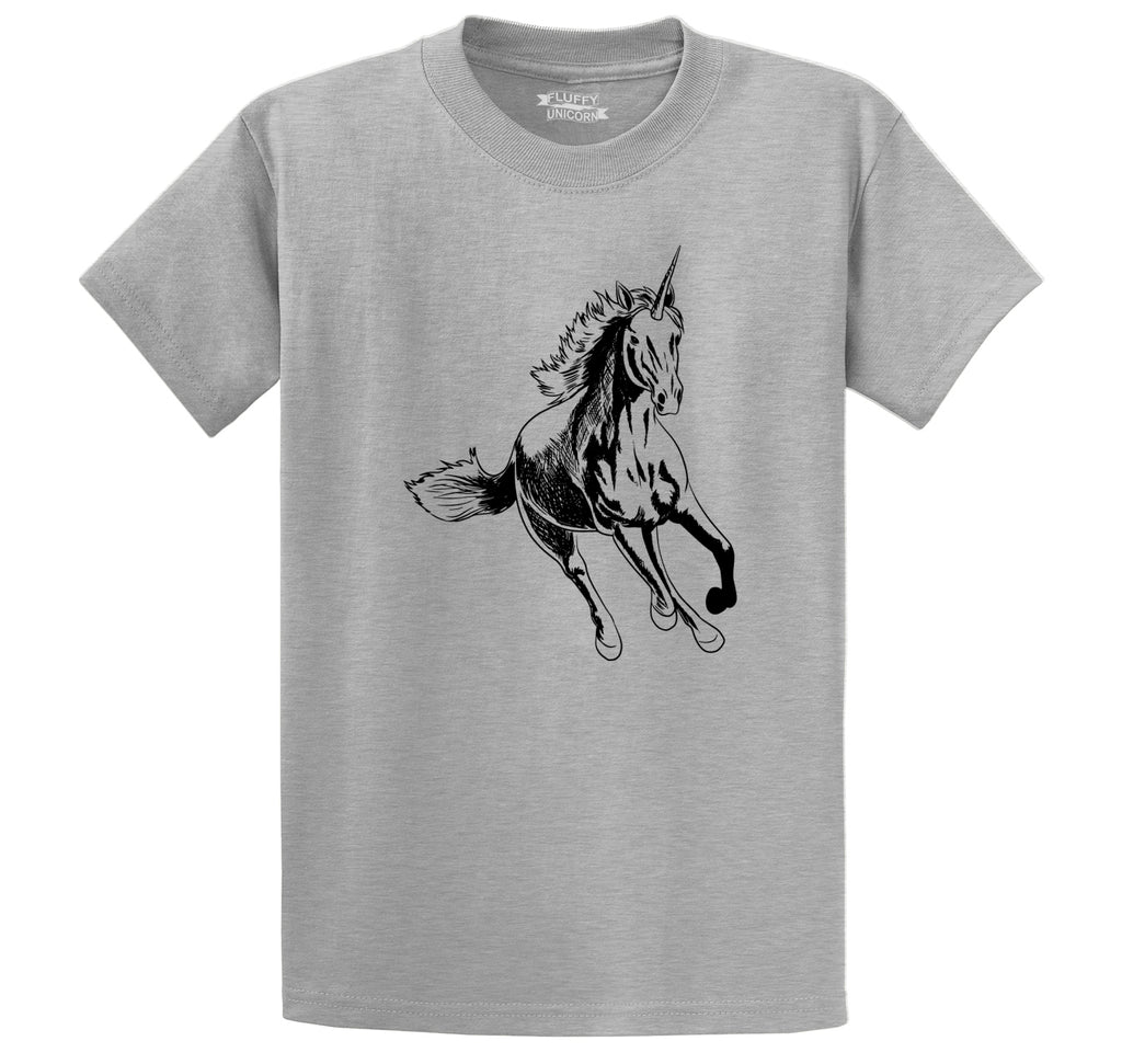 Running Unicorn Men's Heavyweight Big & Tall Cotton Tee Shirt