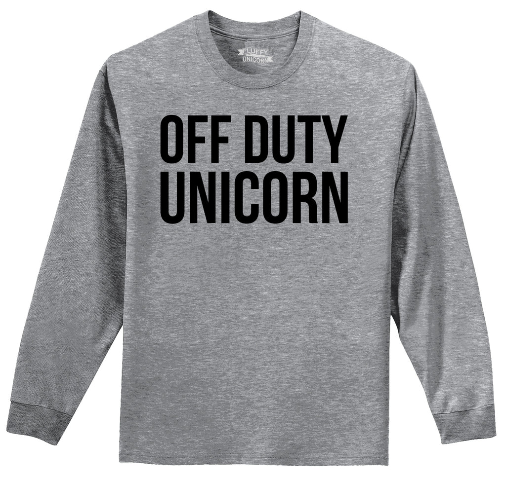 Off Duty Unicorn Cute Magic Horse Lover Tee Mens Long Sleeve Tee Shirt