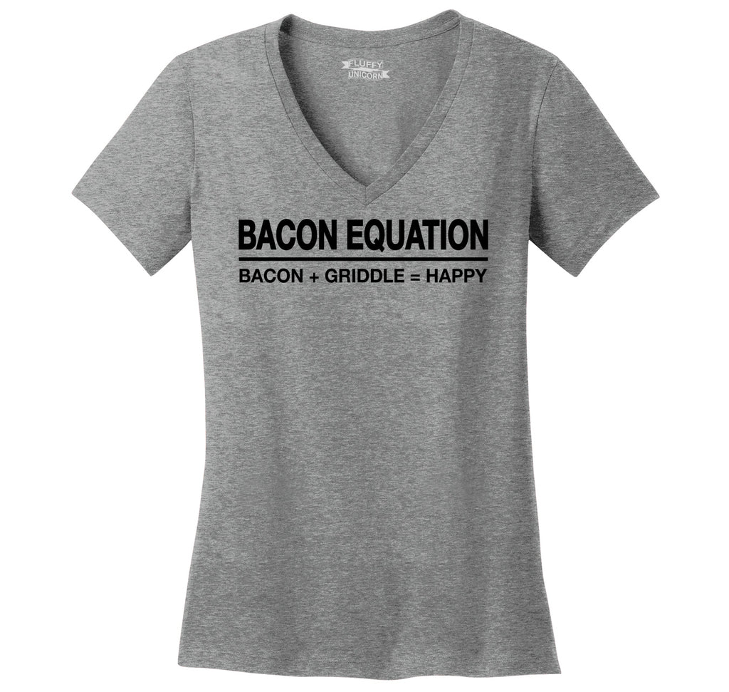 Bacon Equation Equals Happy Ladies Ringspun V-Neck Tee
