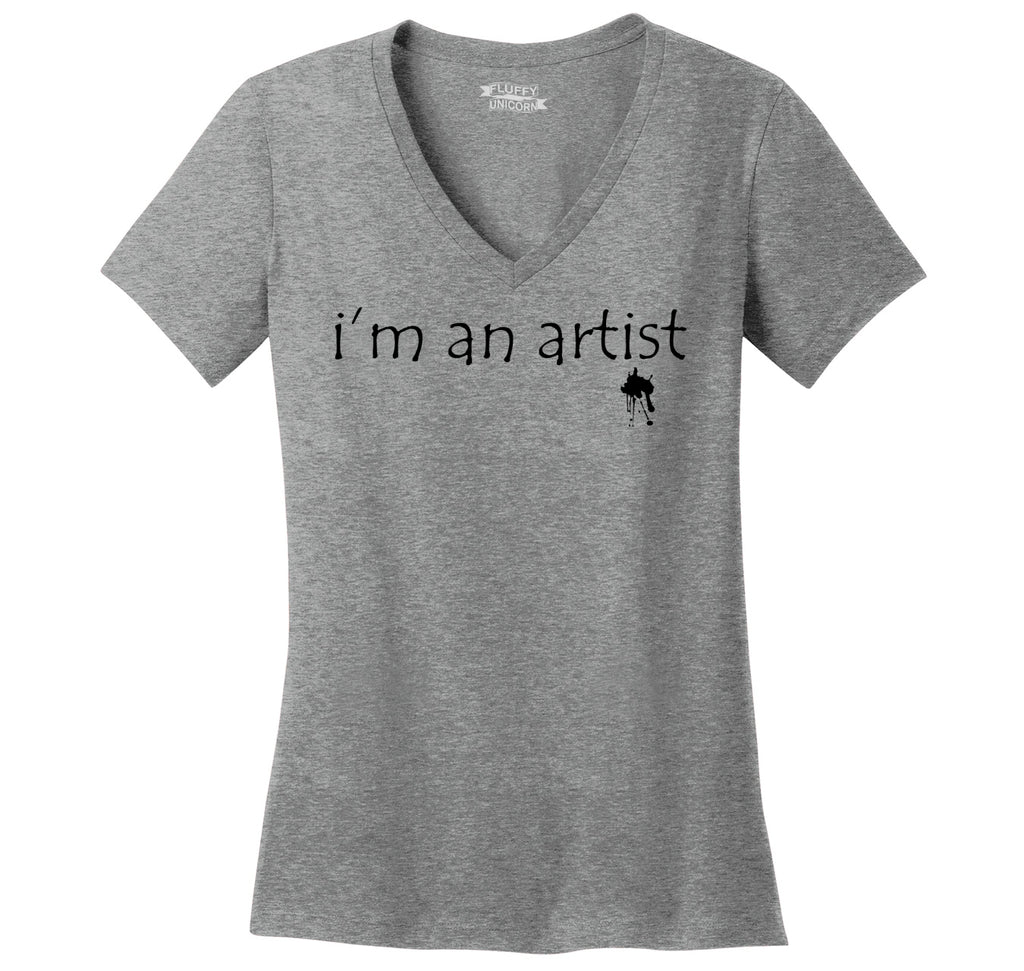 I'm An Artist Ladies Ringspun V-Neck Tee