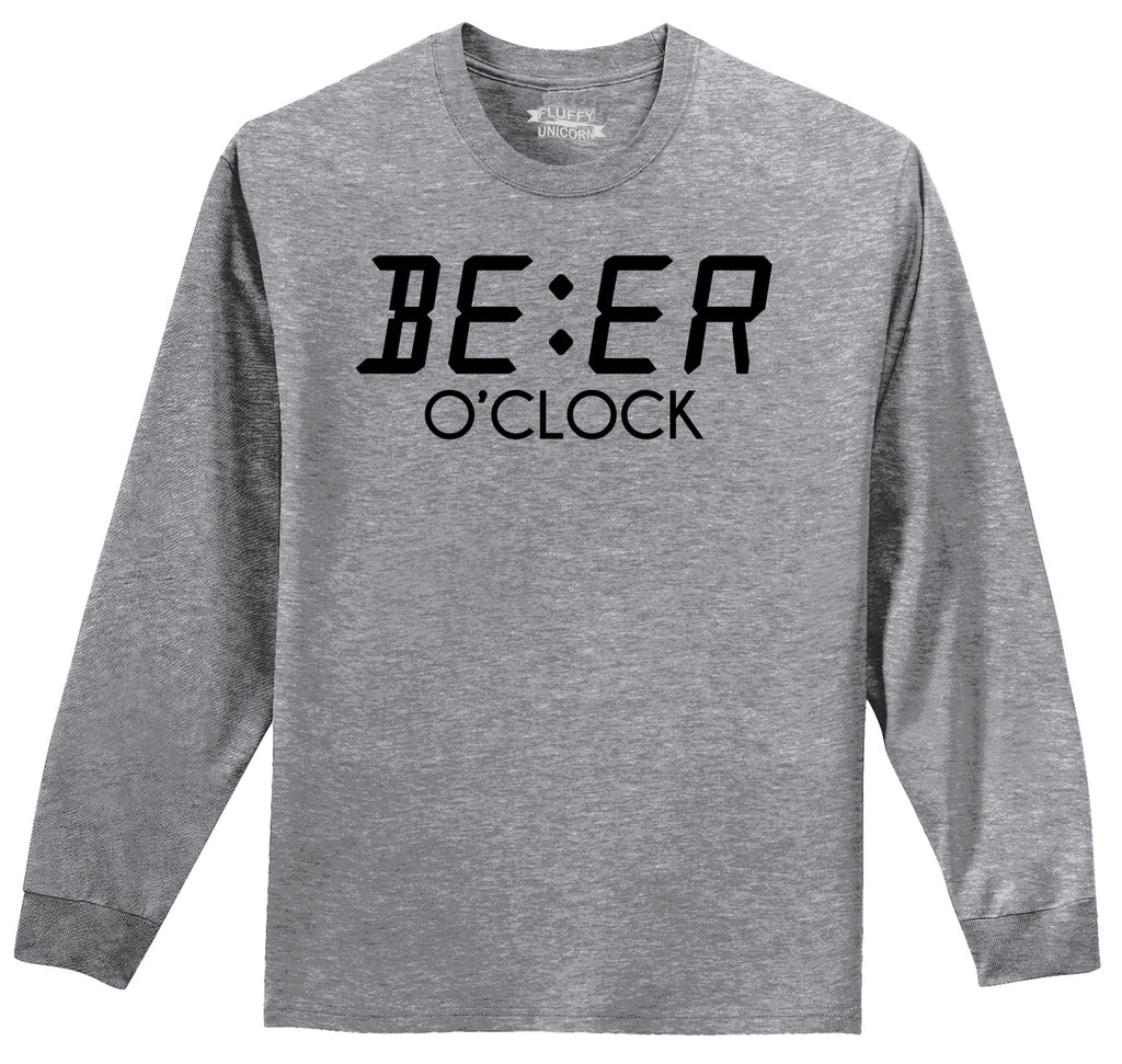 Beer O'Clock Funny Alcohol St Patty's Party Bar Tee Mens Long Sleeve Tee Shirt