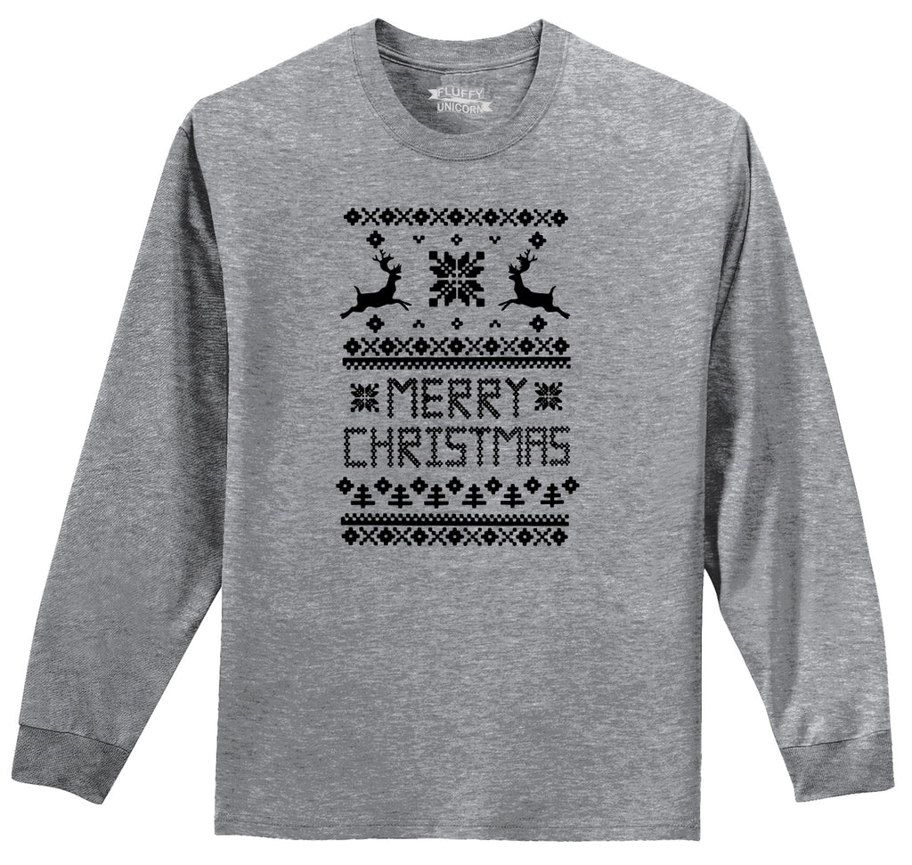Merry Christmas Ugly Sweater Xmas Tee Mens Long Sleeve Tee Shirt