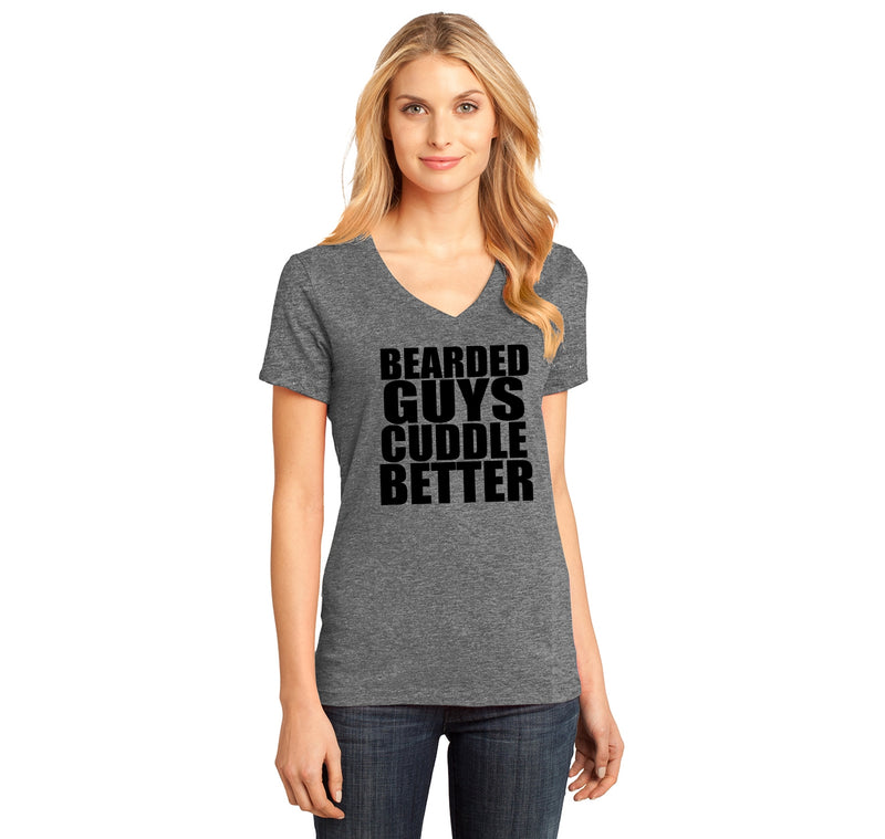 Bearded Guys Cuddle Better Ladies Ringspun V-Neck Tee