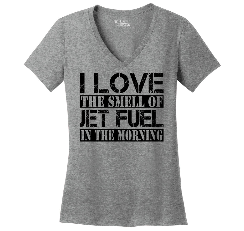 I Love The Smell Of Jet Fuel In The Morning Ladies Ringspun V-Neck Tee