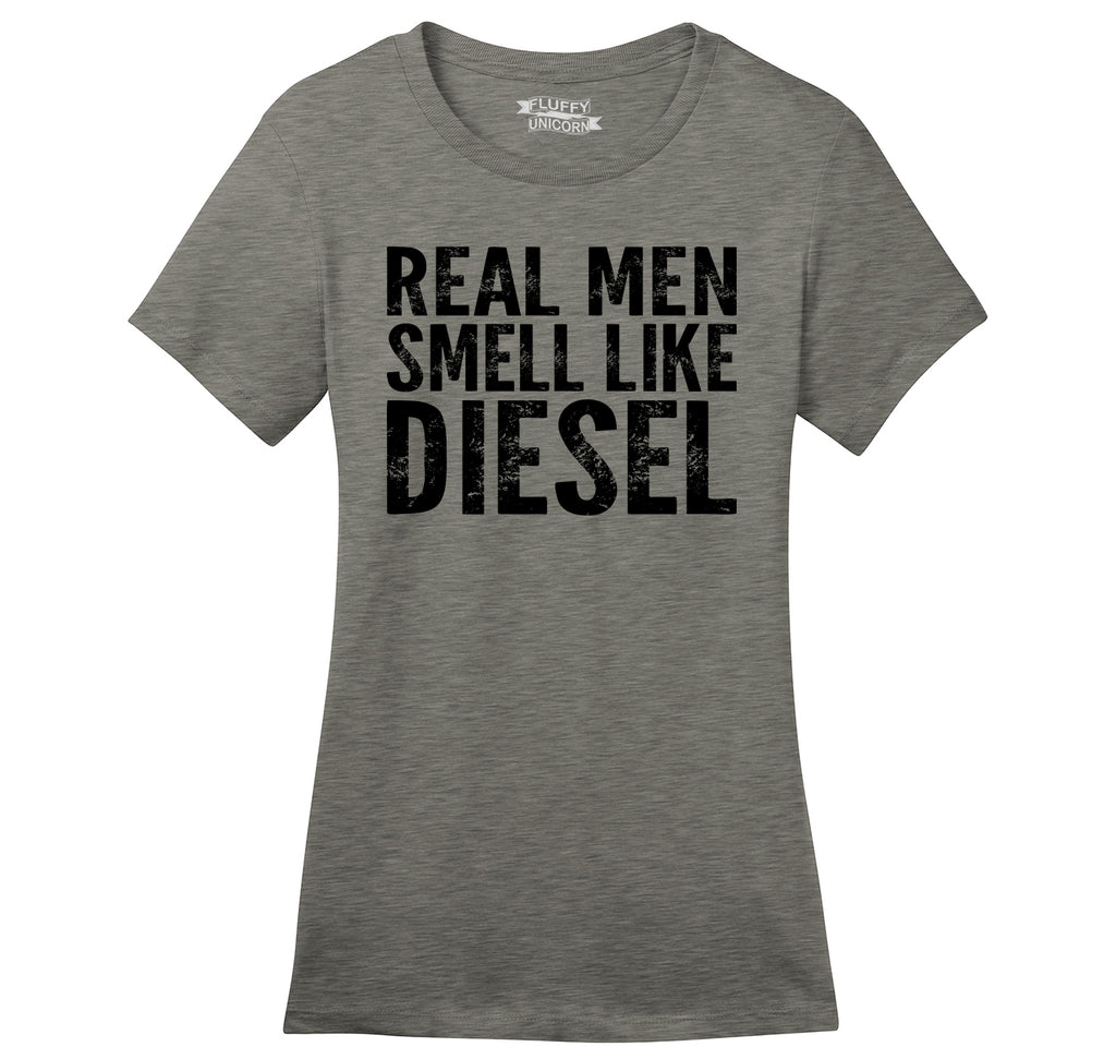 Real Men Smell Like Diesel Ladies Ringspun Short Sleeve Tee