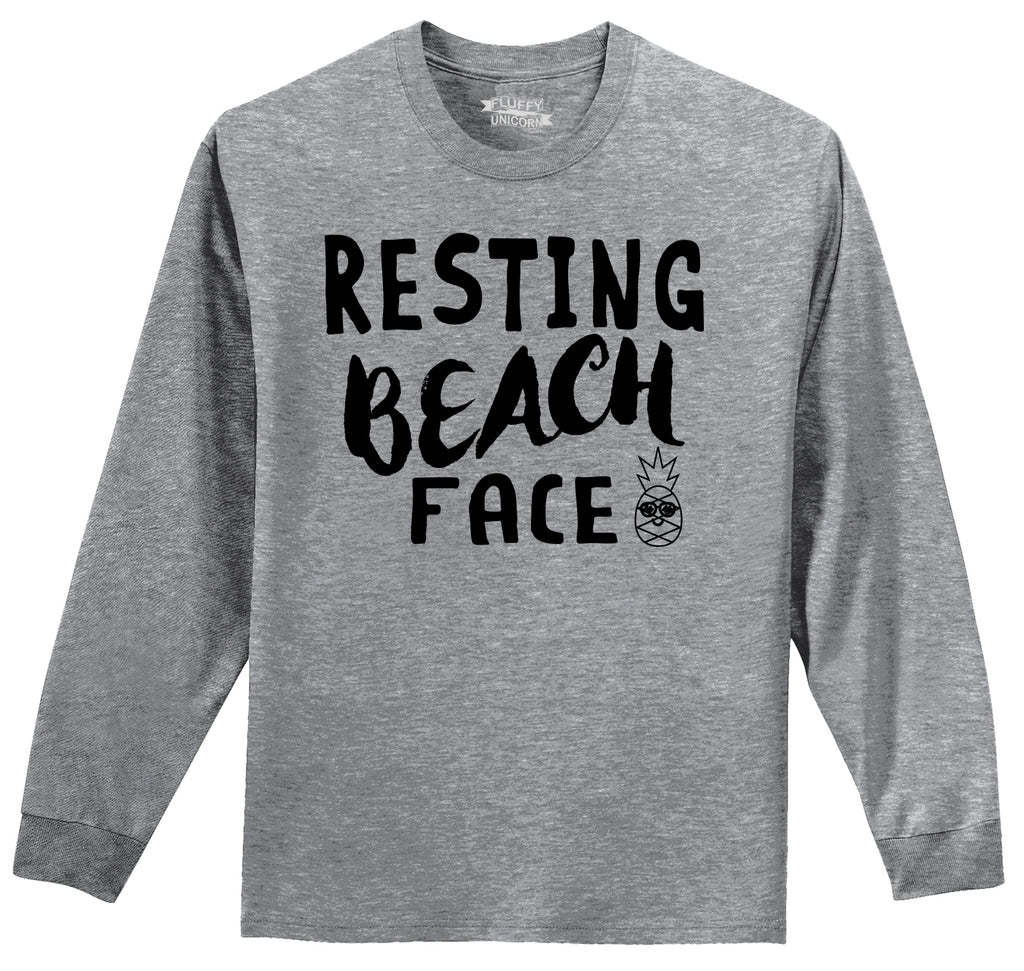 Resting Beach Face Mens Long Sleeve Tee Shirt