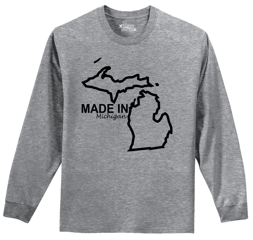 Made In Michigan Cute Home State Pride Tee Mens Long Sleeve Tee Shirt