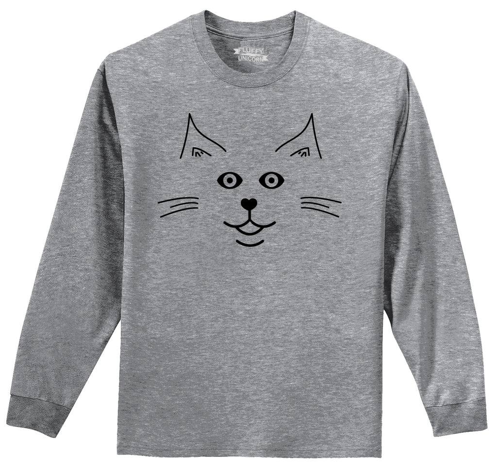 Cat Face Graphic Mens Long Sleeve Tee Shirt