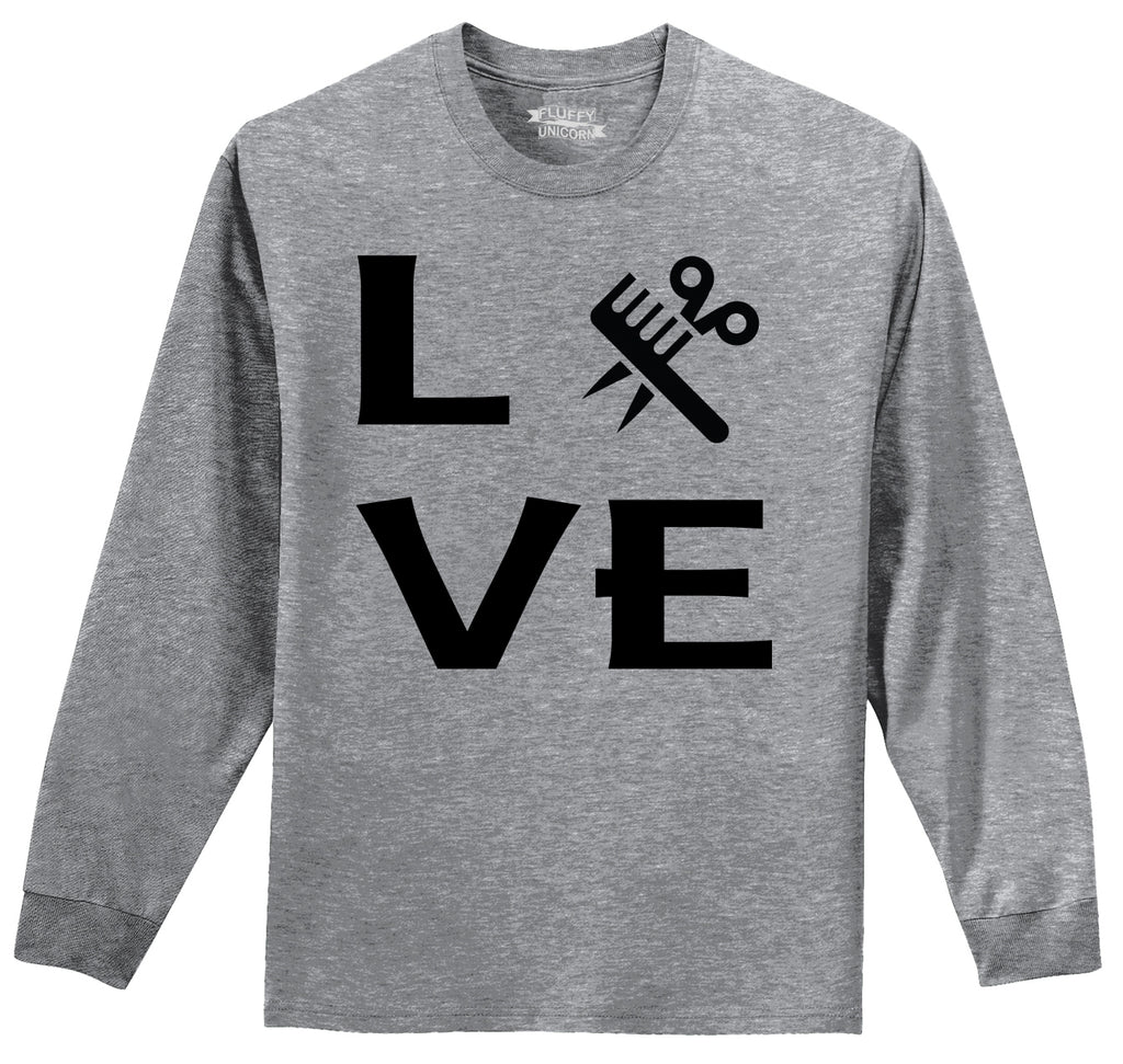 Love Hairstylist Cute Barber Gift Tee Mens Long Sleeve Tee Shirt